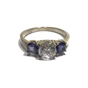 STERLING CUBIC ZIRCONIA AMETHYST RING SIZE 9